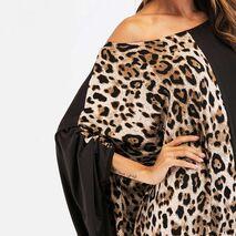 2020 Leopard Printed Patchwork Women Abaya Maxi Dress eid kaftan Ramadan robe chic Vestido Batwing loose gown plus size VKDR1450