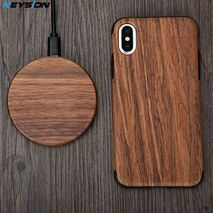 KEYSION 10W Wooden Qi Wireless Charger for iPhone 11 Pro XR XS Max Xiaomi mi9 fast Wireless Charging Stand for Samsung S10 S9 S8