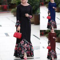 KLV Dubai Abaya Muslim Women Kaftan Arabic Vestidos 2019 Long Sleeve Floral Print Maxi Hijab Dress Elbise Robe Turkish Clothing