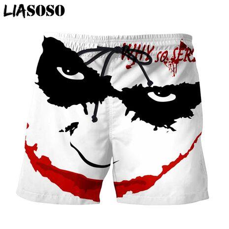 LIASOSO 3d Print Creative Joker Haha Men's Shorts Beach Casual Shorts Boardshorts Trousers boxer Shorts/trunks  X2703